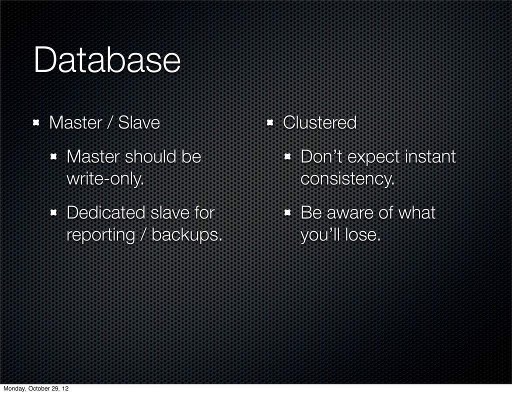 Database Master / Slave Master should be write-...