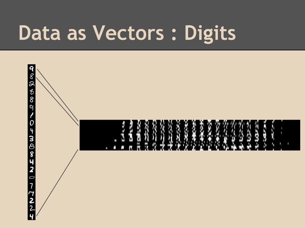 Data as Vectors : Digits