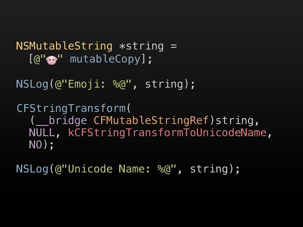 "NSMutableString *string = [@"""" mutableCopy]; NS..."