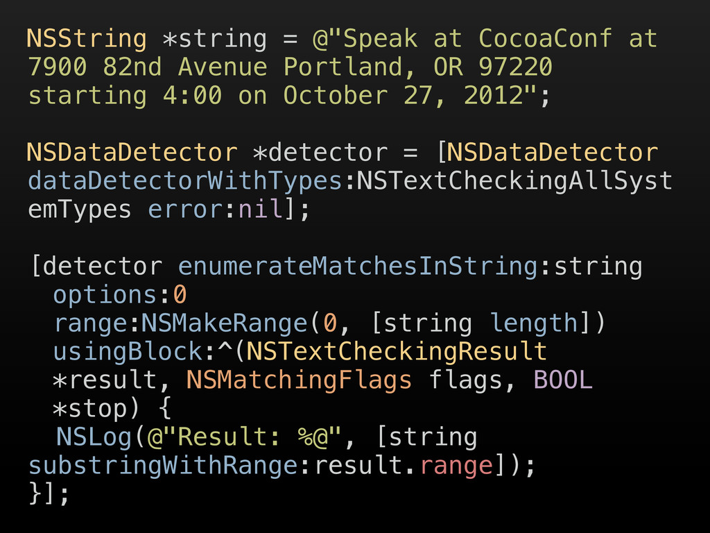 """NSString *string = @""""Speak at CocoaConf at 7900..."""