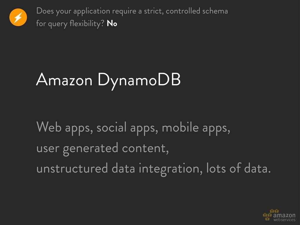 Amazon DynamoDB r Web apps, social apps, mobile...