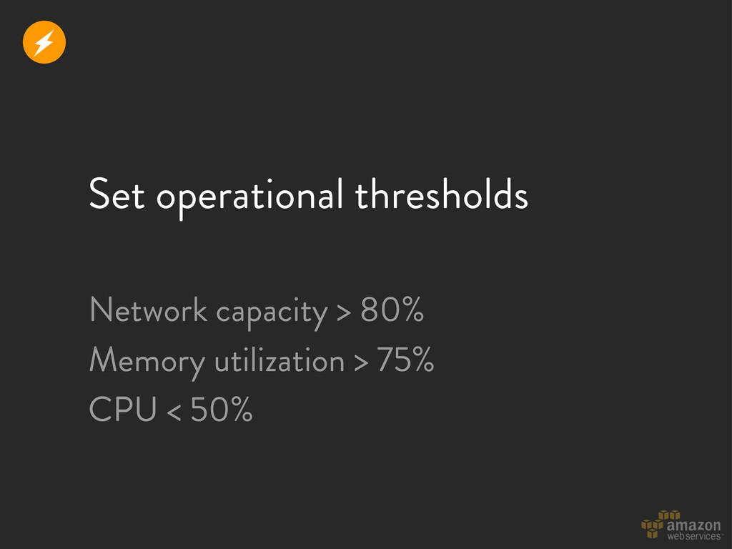 Set operational thresholds Network capacity > 8...
