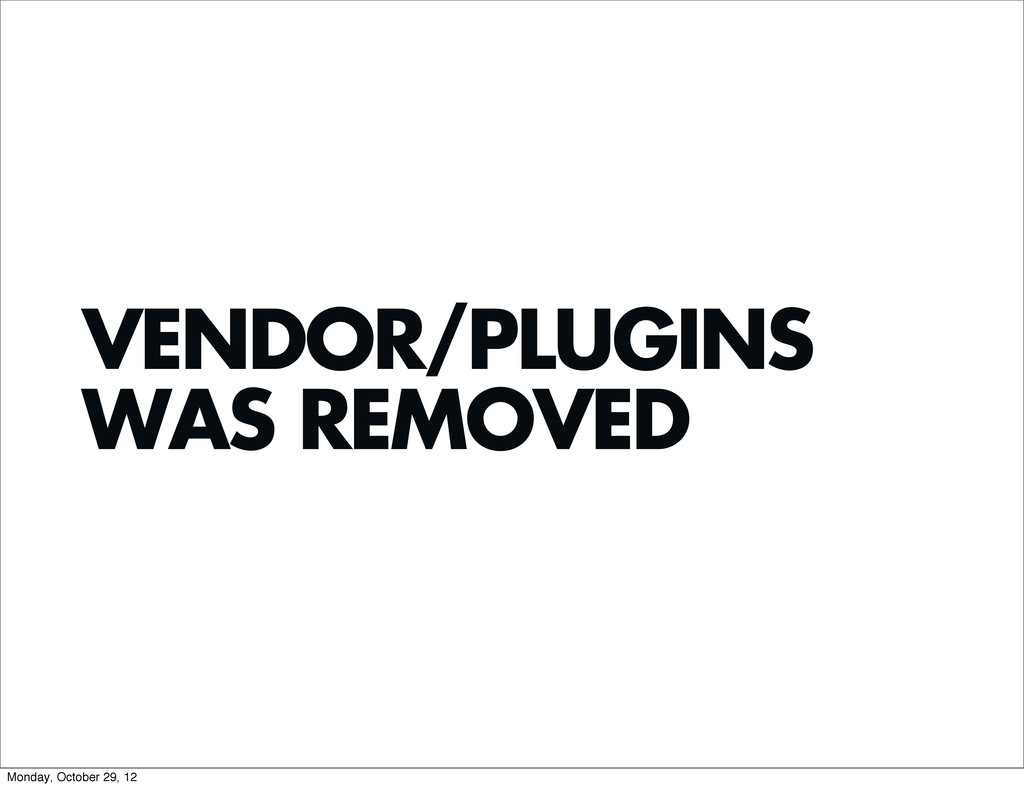 VENDOR/PLUGINS WAS REMOVED Monday, October 29, ...