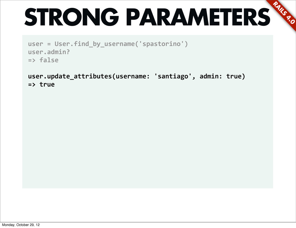 RA ILS 4.0 user = User.find_by_username('...