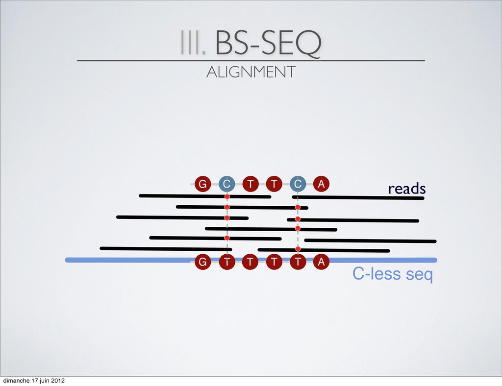 III. BS-SEQ ALIGNMENT C-less seq reads G C T C ...