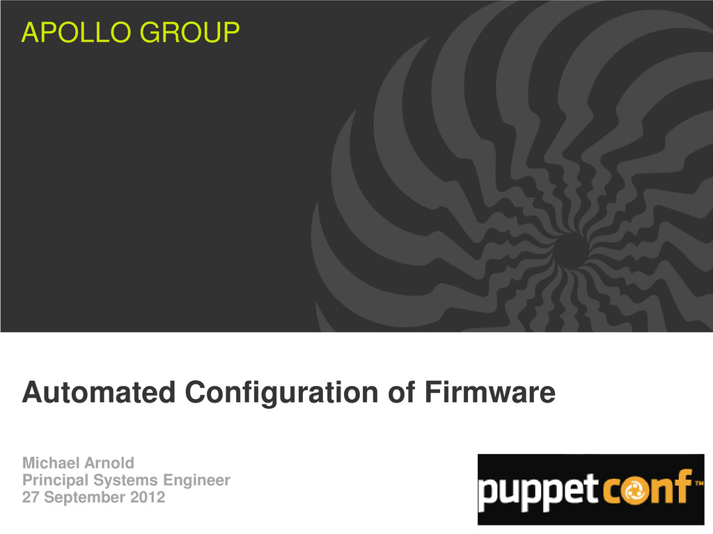 APOLLO GROUP Automated Configuration of Firmwar...