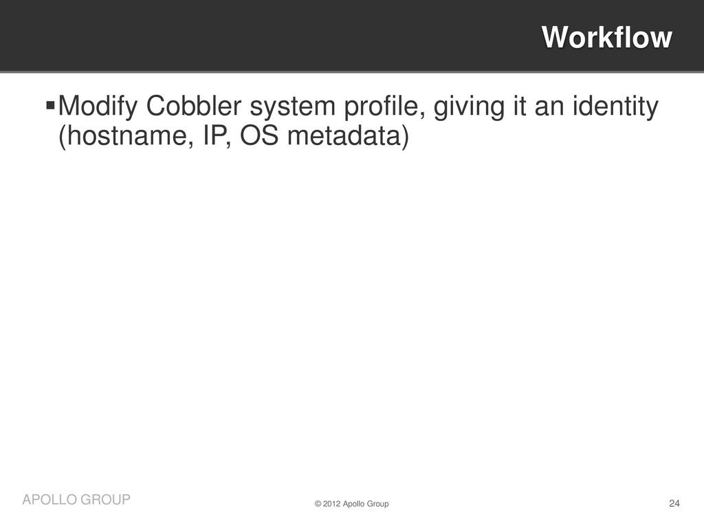 24 APOLLO GROUP Modify Cobbler system profile,...