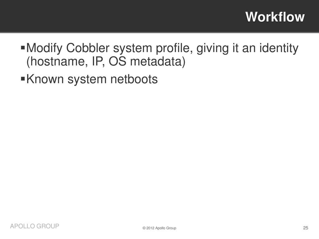 25 APOLLO GROUP Modify Cobbler system profile,...