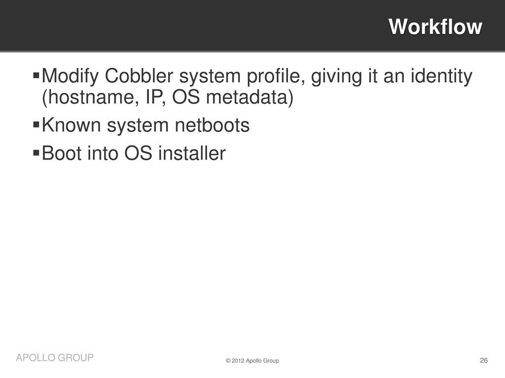 26 APOLLO GROUP Modify Cobbler system profile,...