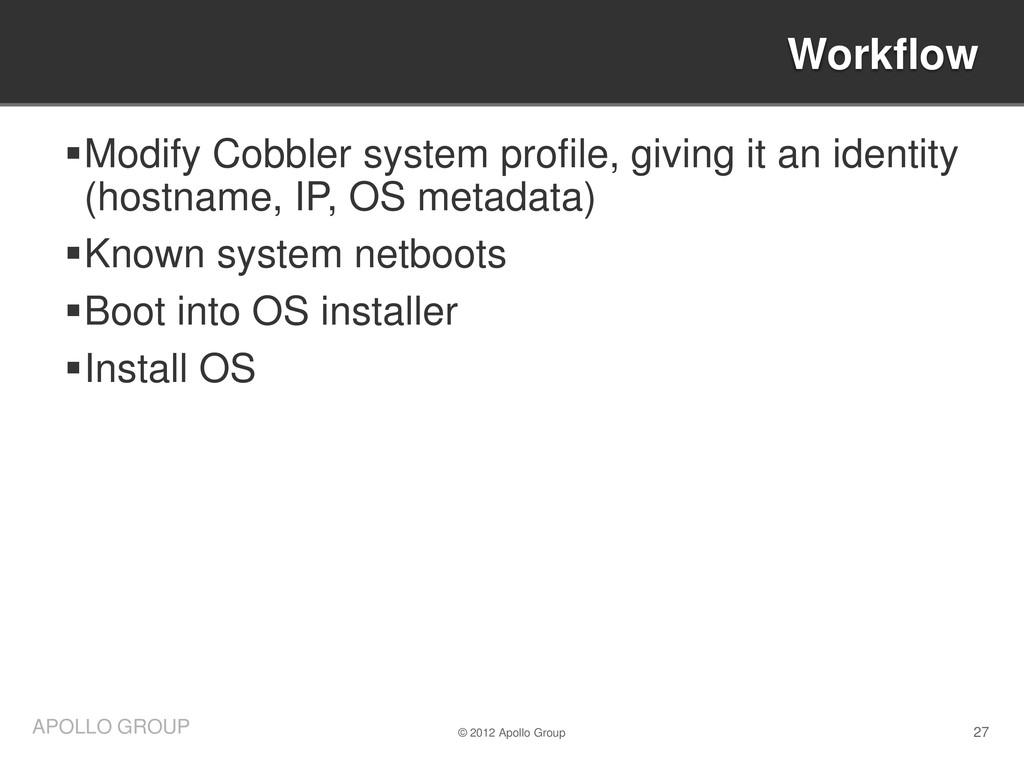 27 APOLLO GROUP Modify Cobbler system profile,...