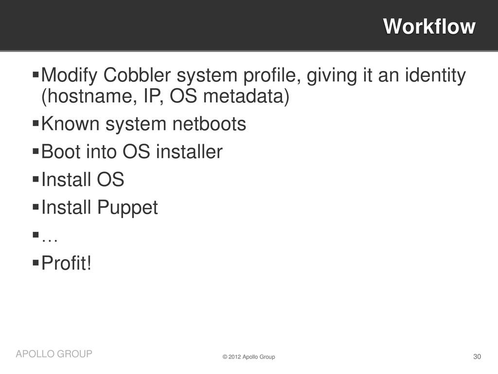 30 APOLLO GROUP Modify Cobbler system profile,...