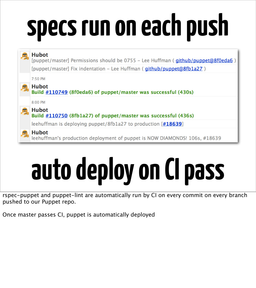 specs run on each push auto deploy on CI pass r...