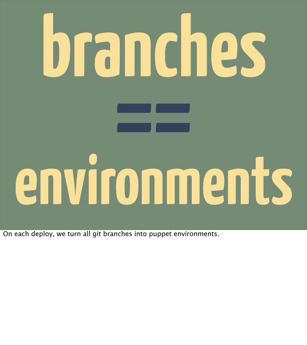 environments branches == On each deploy, we tur...