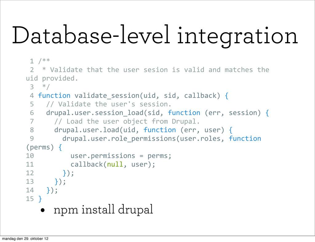 • npm install drupal  1 /**  2  * Validat...