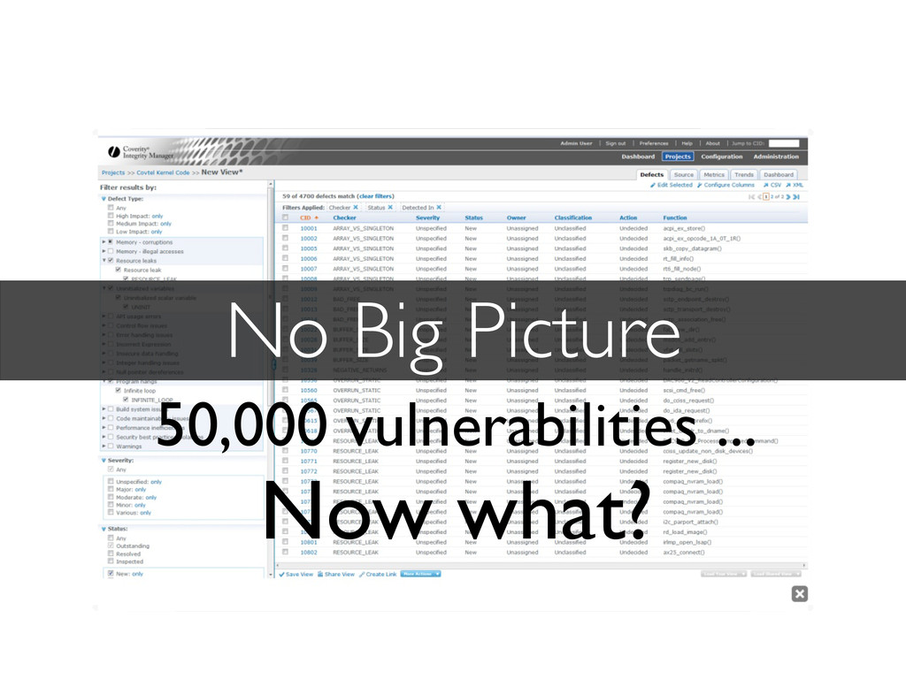 No Big Picture 50,000 vulnerabilities ... Now w...