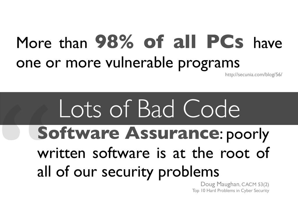 """Software Assurance: poorly written software is..."