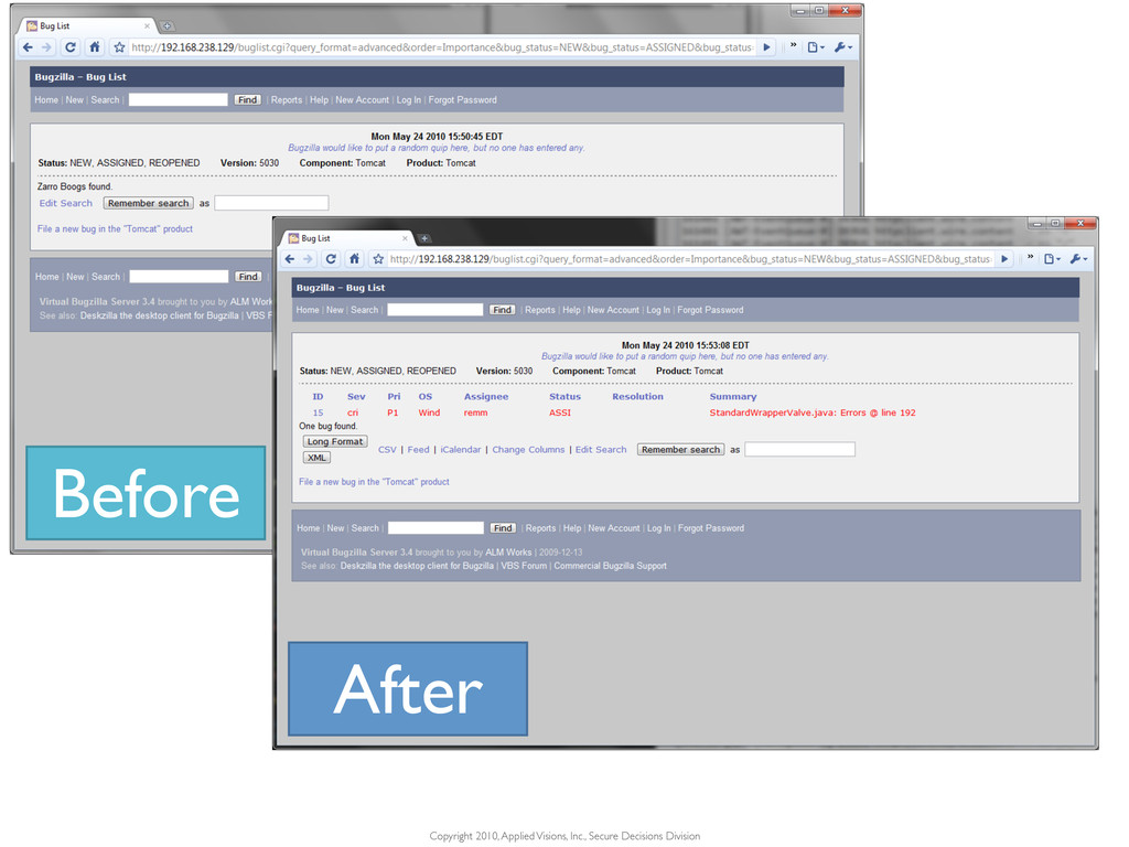 Before After Copyright 2010, Applied Visions, I...