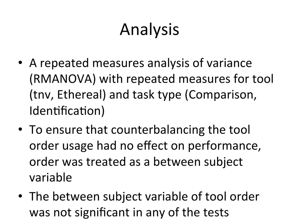 Analysis  • A repeated measures an...