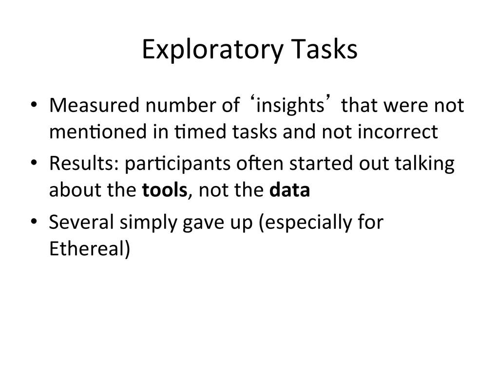 Exploratory Tasks   • Measured number...