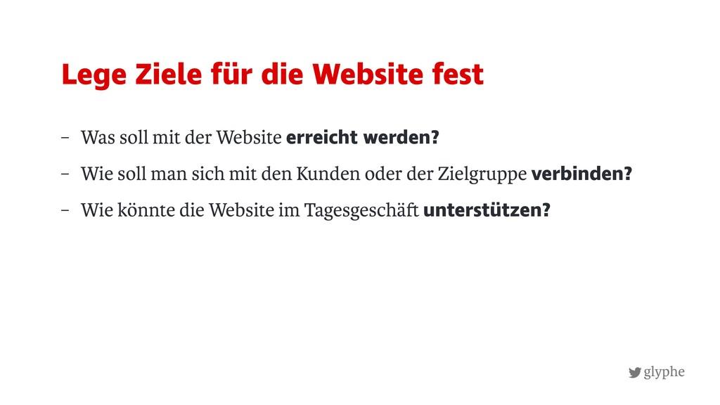 glyphe – Was soll mit der Website erreicht werd...