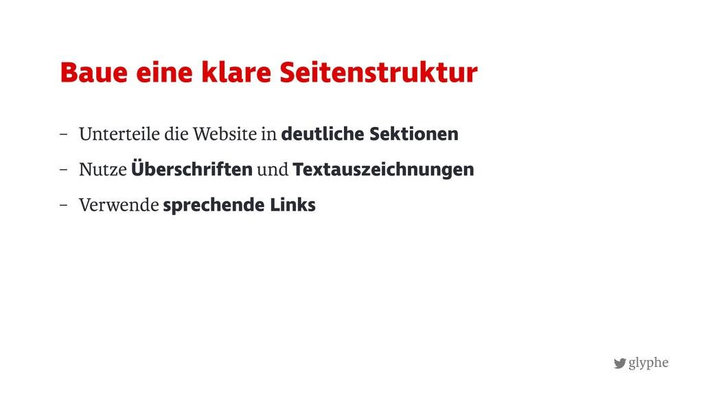 glyphe – Unterteile die Website in deutliche Se...