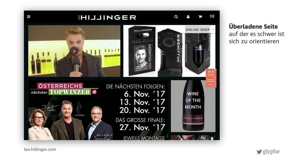 glyphe leo-hillinger.com Überladene Seite auf d...