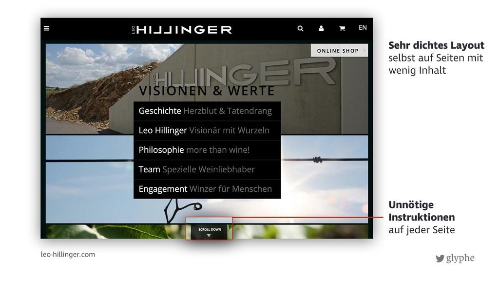 glyphe leo-hillinger.com Unnötige Instruktionen...