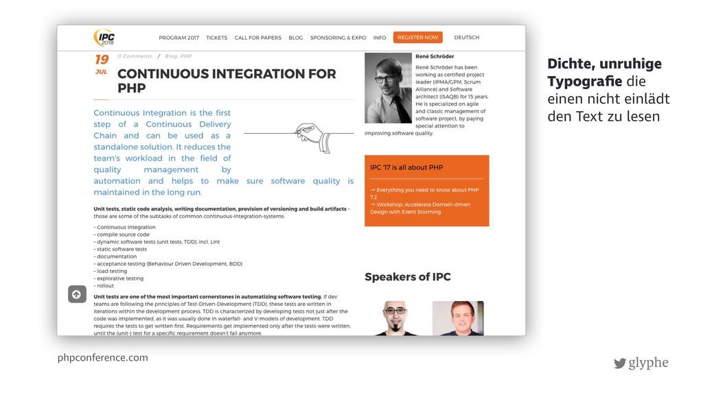 glyphe phpconference.com Dichte, unruhige Typog...