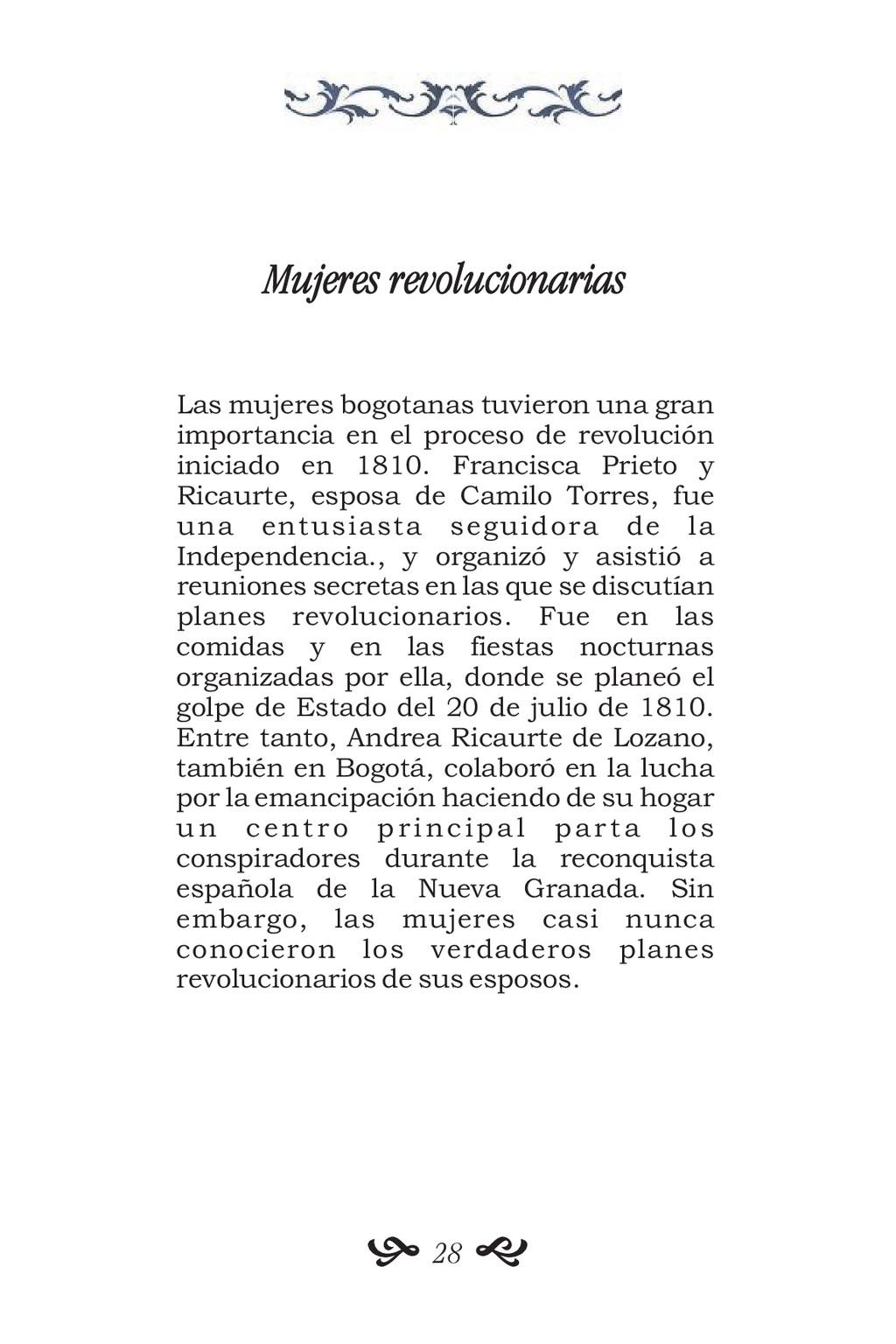 Mujeres revolucionarias Las mujeres bogotanas t...