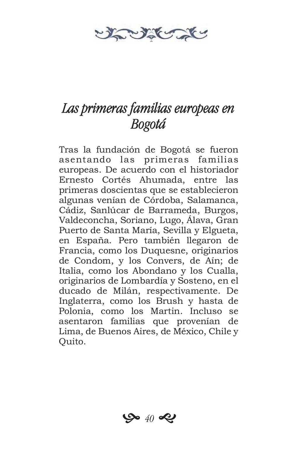 Las primeras familias europeas en Bogotá Tras l...