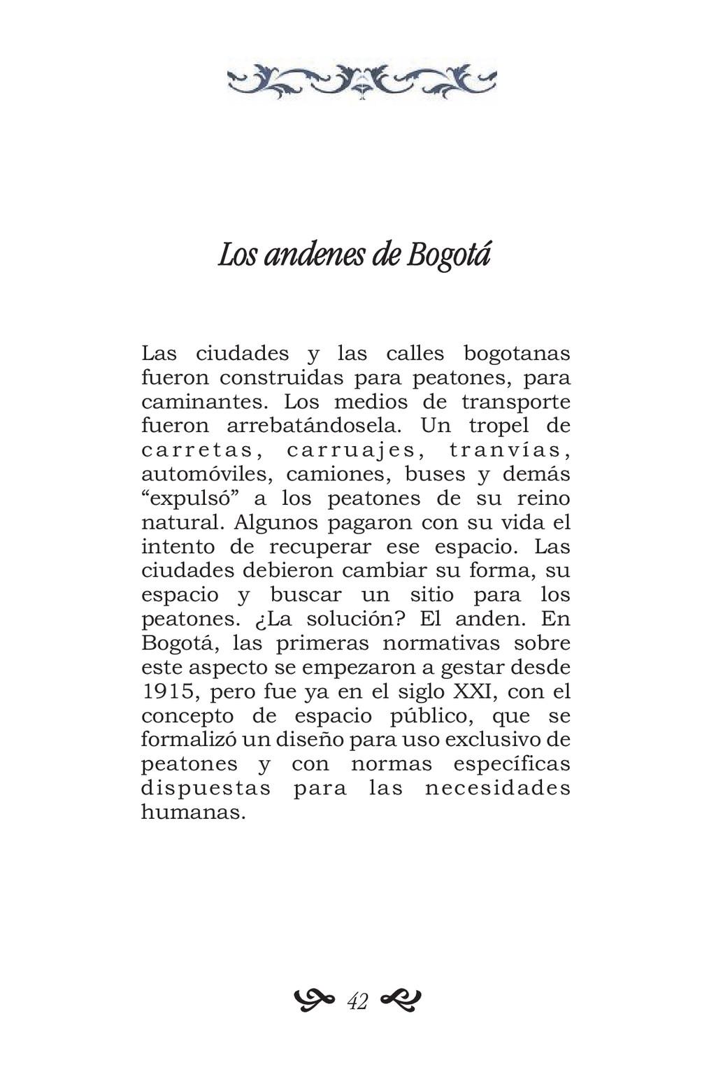 Los andenes de Bogotá Las ciudades y las calles...