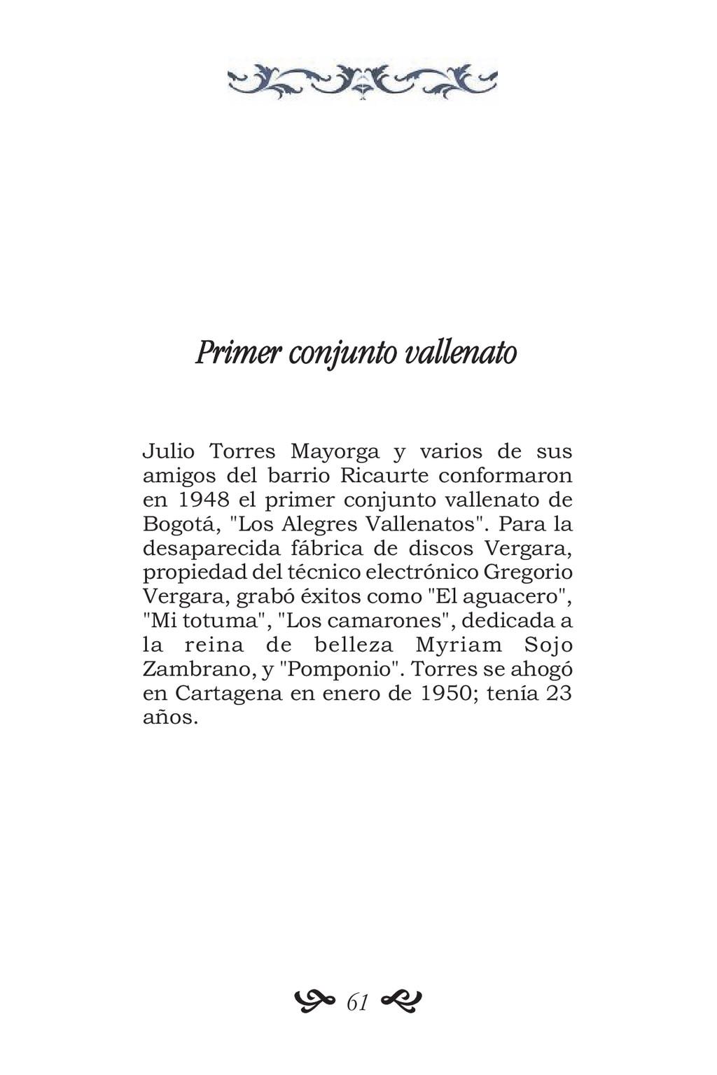 Primer conjunto vallenato Julio Torres Mayorga ...