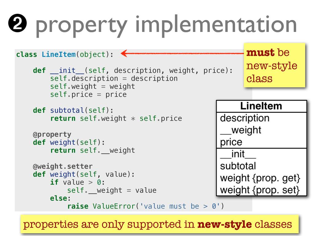 ➋ property implementation class LineItem(object...