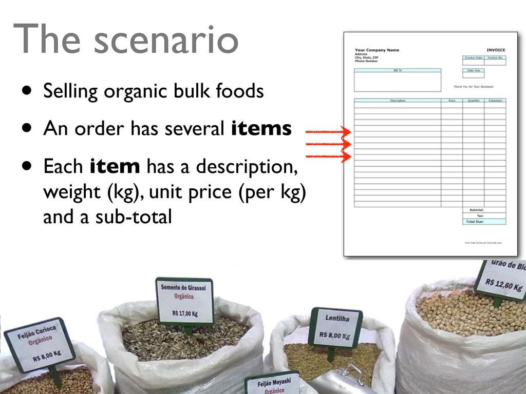 The scenario • Selling organic bulk foods • An ...