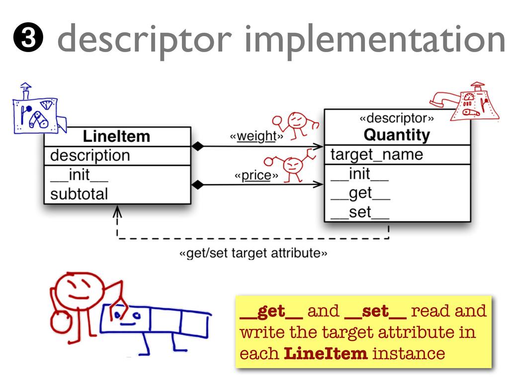 ➌ descriptor implementation __get__ and __set__...