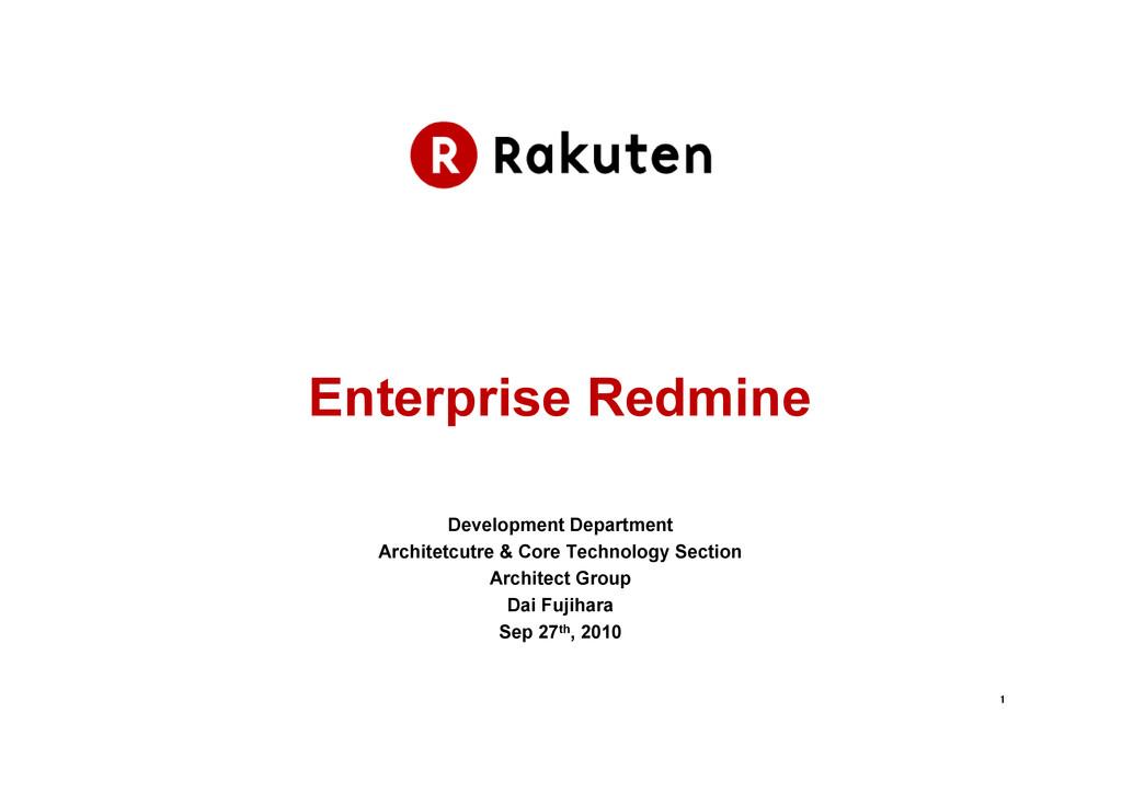 1 1 1 1 Enterprise Redmine Development Departme...