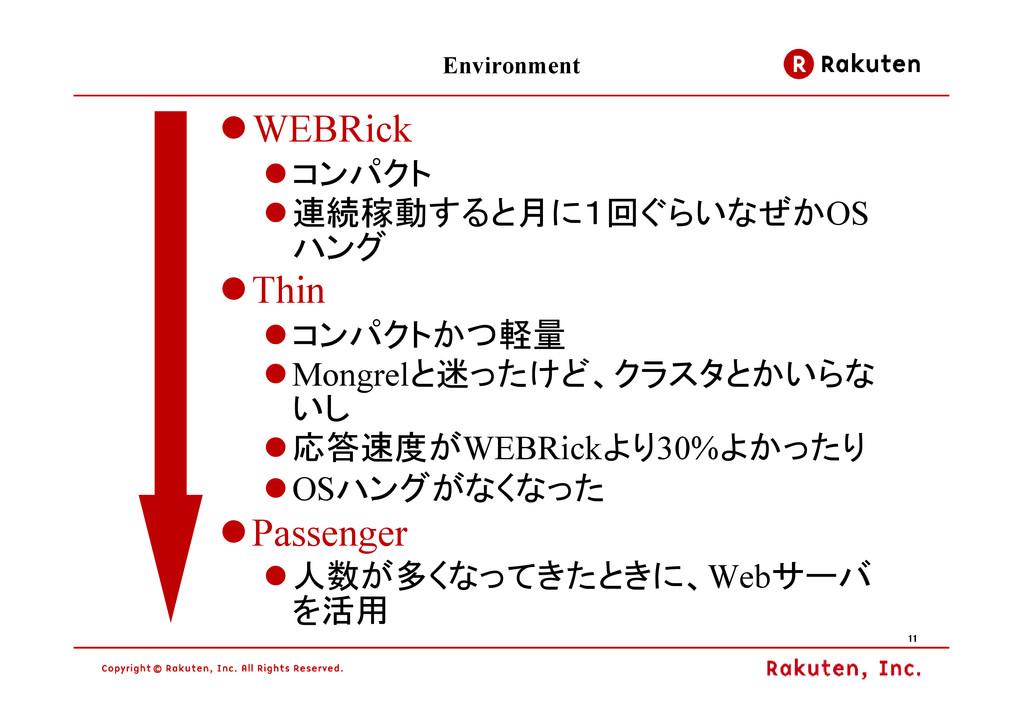 11 11 11 11 Environment WEBRick コンパクト 連続稼動すると月に...