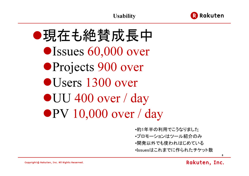 8 8 8 8 Usability 現在も絶賛成長中 Issues 60,000 over P...
