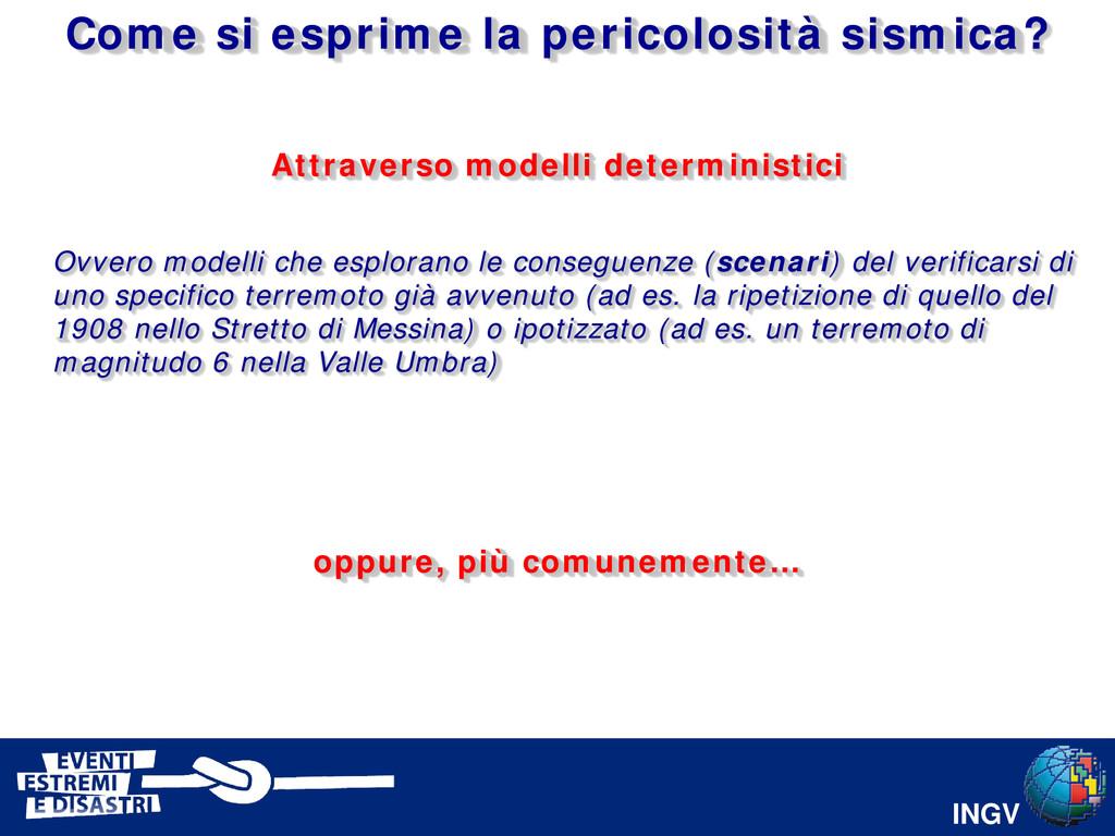 INGV Attraverso modelli deterministici Come si ...