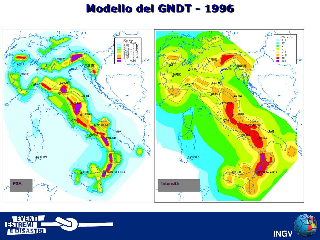 INGV PGA Intensità Modello del GNDT - 1996