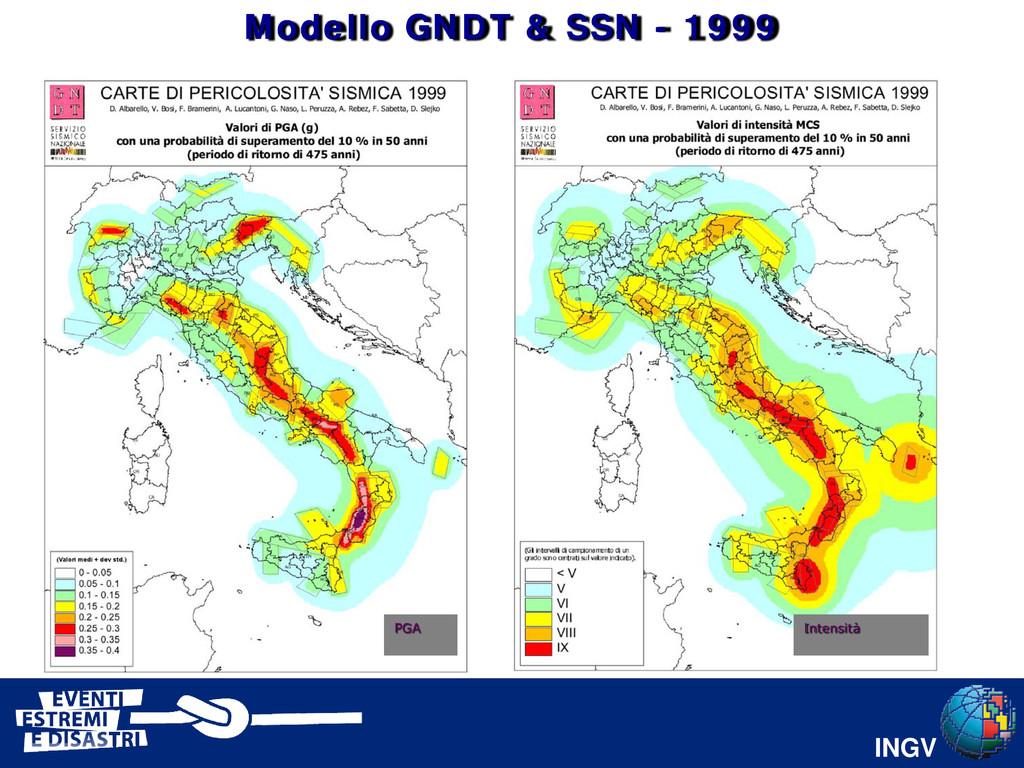 INGV PGA Intensità Modello GNDT & SSN - 1999
