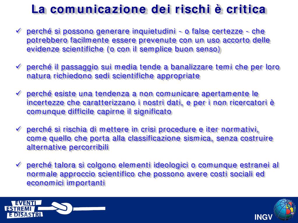 INGV La comunicazione dei rischi è critica  pe...