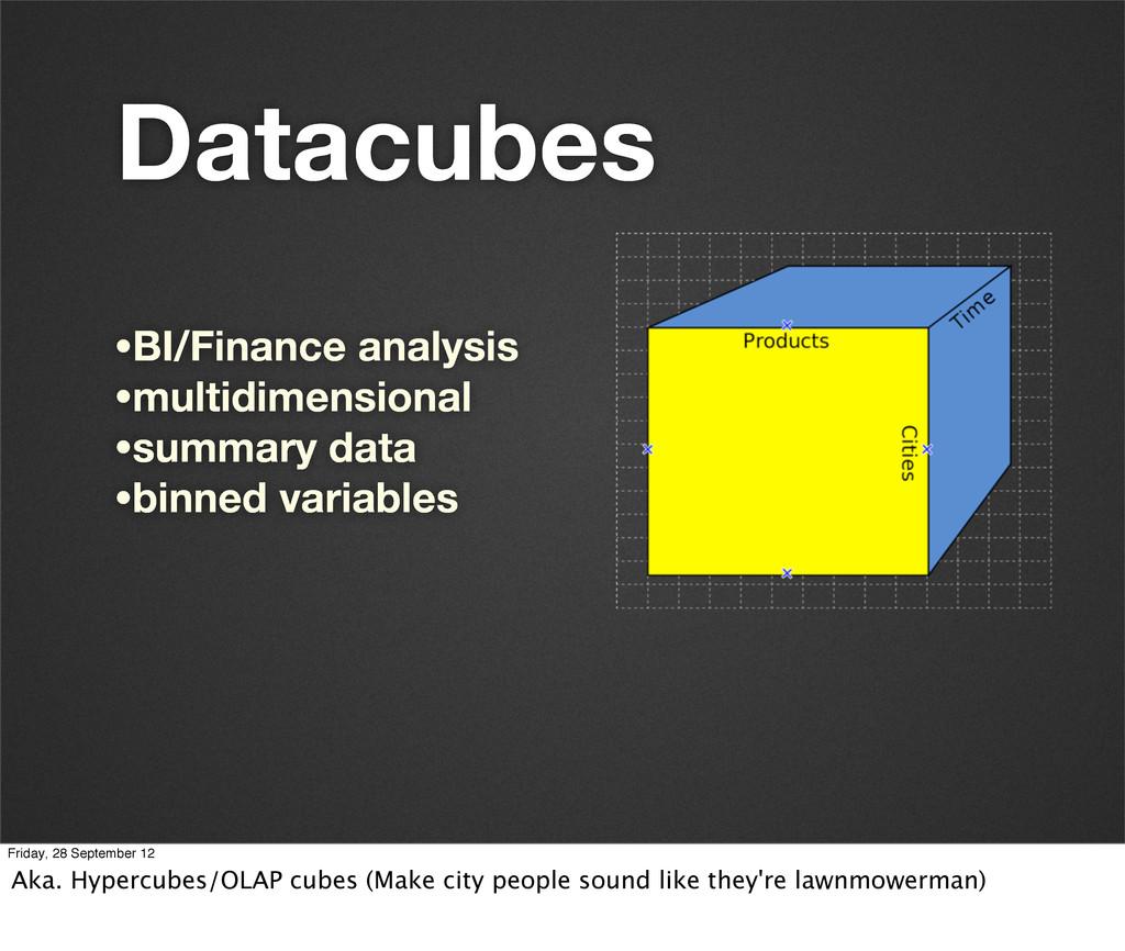 Datacubes •BI/Finance analysis •multidimensiona...