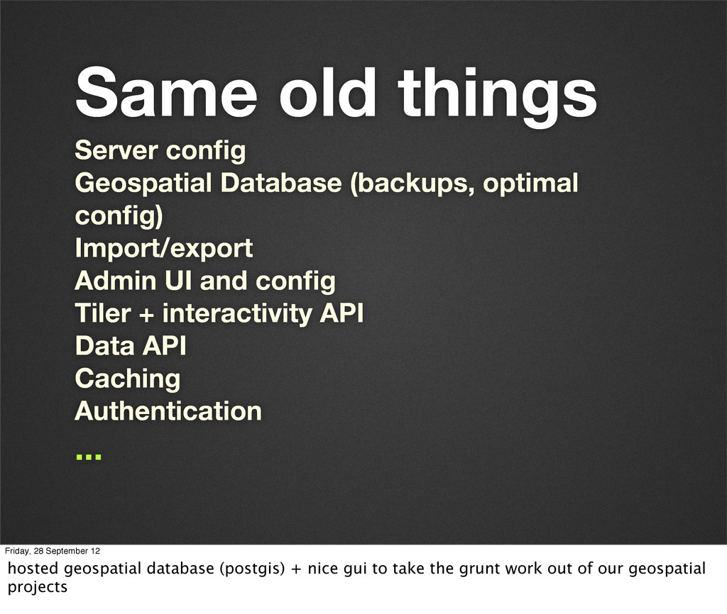 Same old things Server config Geospatial Databas...