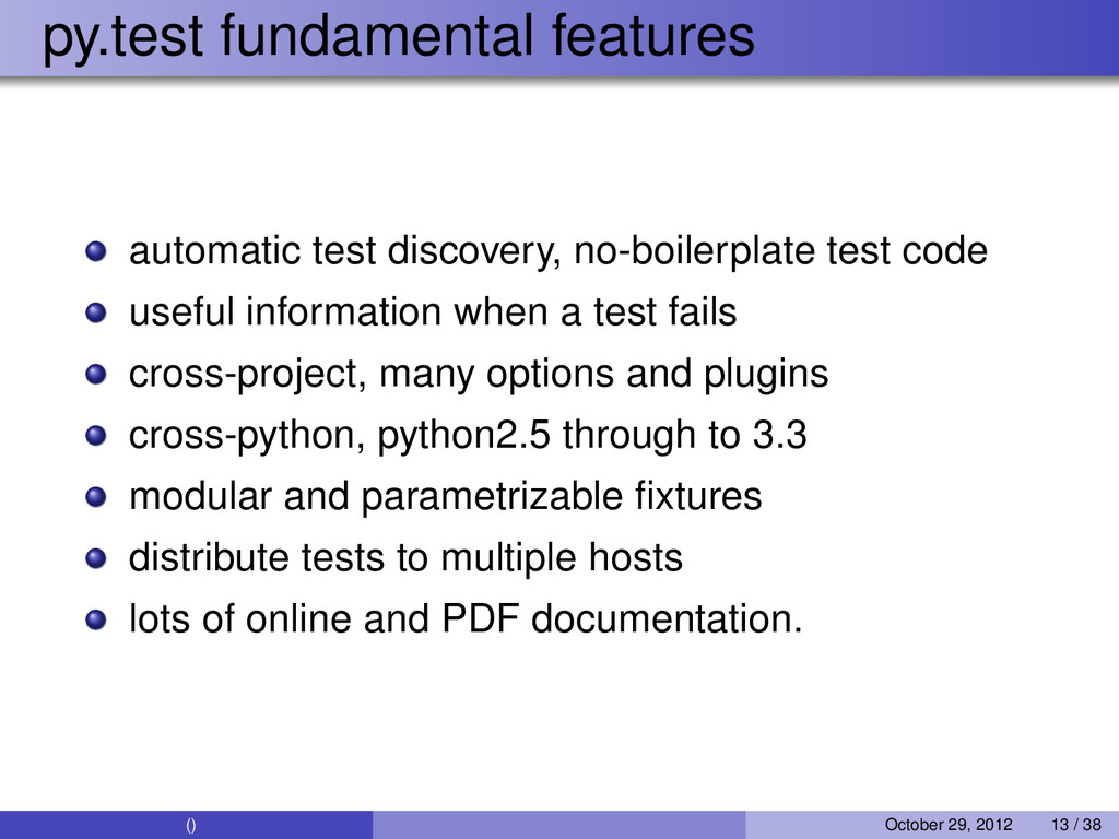 py.test fundamental features automatic test dis...