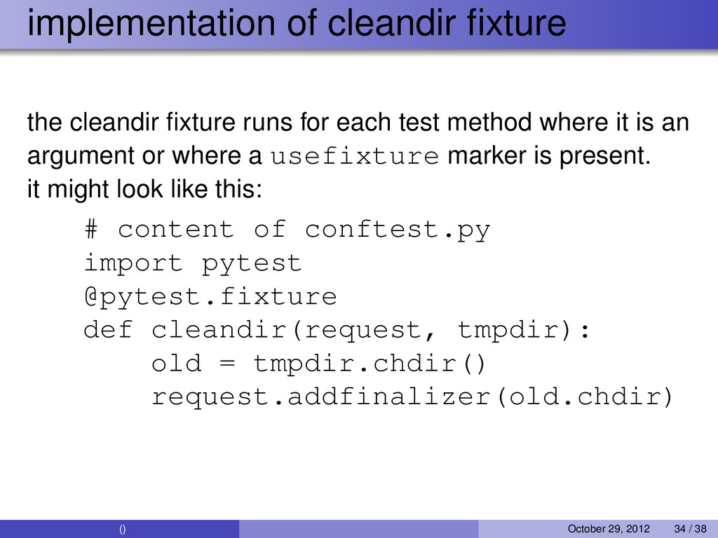 implementation of cleandir fixture the cleandir ...