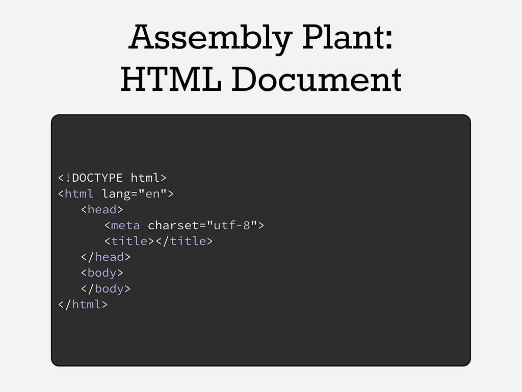 Assembly Plant: HTML Document <!DOCTYPE html> <...