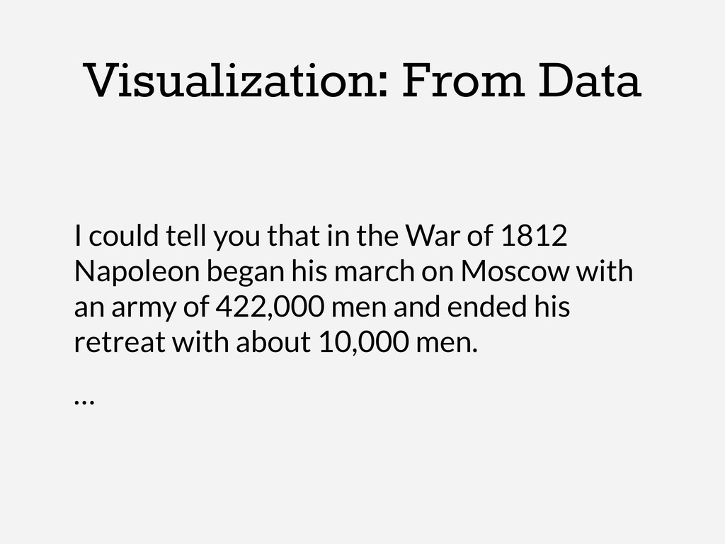 Visualization: From Data I could tell you that ...