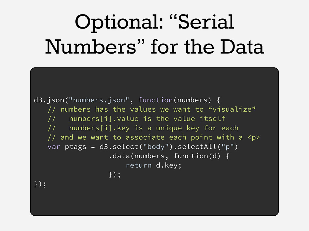 "Optional: ""Serial Numbers"" for the Data d3.json..."