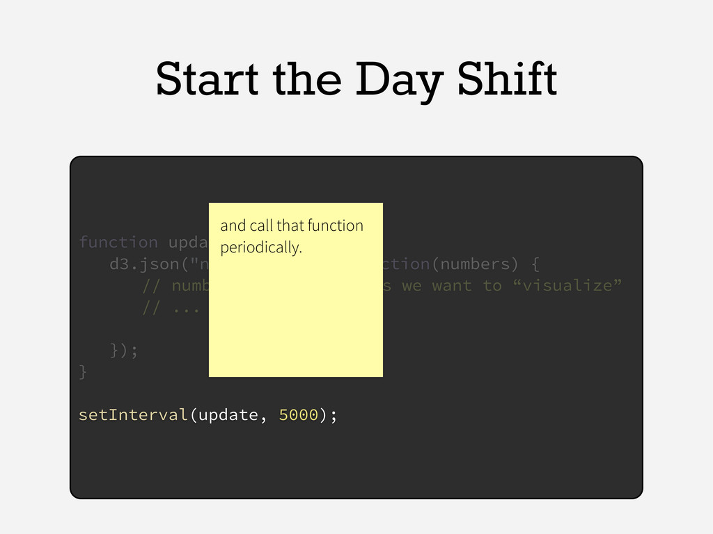 Start the Day Shift function update() { d3.json...